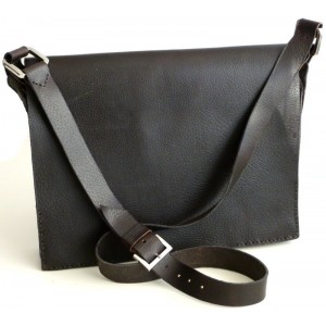 Black leather bag for documents